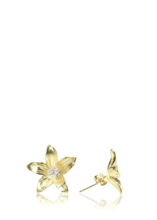 Gold Çiçek Formlu Küpe