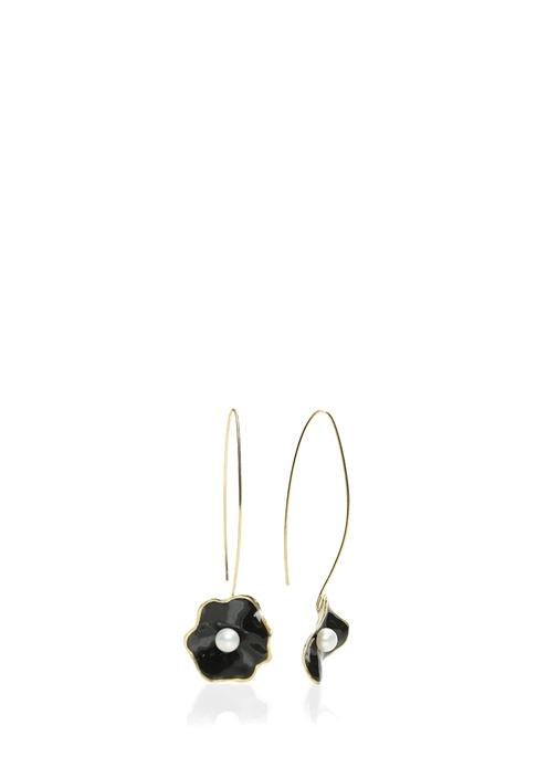 Siyah Çiçek Formlu Gold Kordonlu Küpe