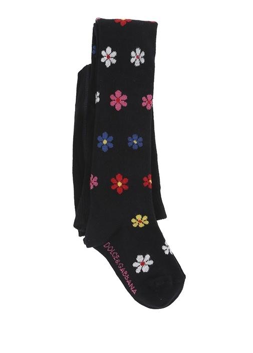 Lacivert Mikro Çiçek Desenli Kız Çocuk Çorap