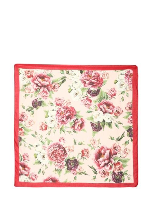 Pembe Kırmızı Çiçek Baskılı Kadın Fular