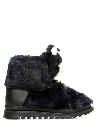 Dolce&Gabbana Erkek Çocuk Lacivert Ayıcık Detaylı Suni Kürk ErkekÇocuk Bot Siyah 24 TR