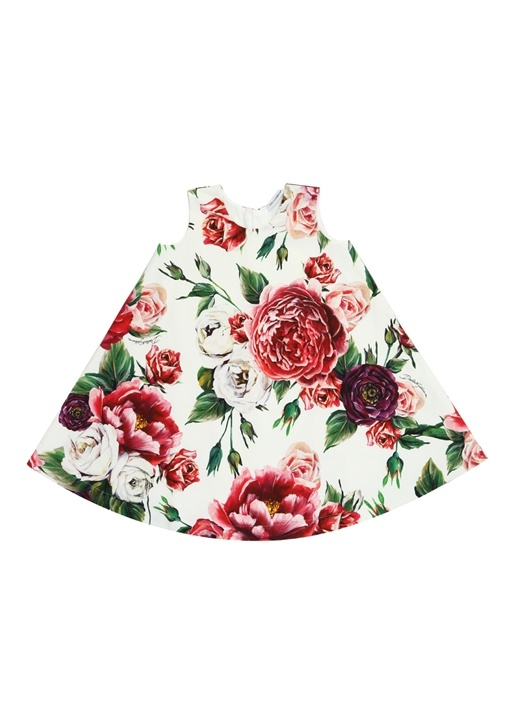 Beyaz Gül Baskılı Çan Formlu Kız Çocuk Elbise