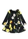 Siyah Çiçekli Aplike Detaylı Kız Çocuk Elbise