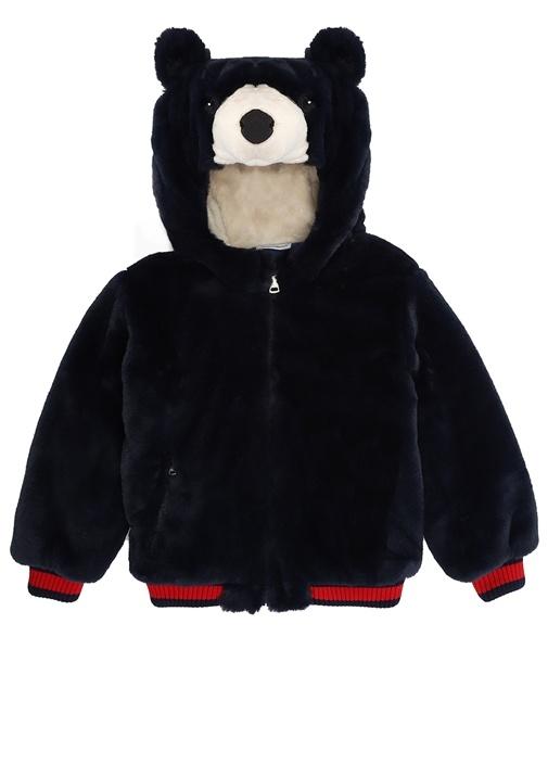 Lacivert Ayıcık Detaylı Erkek Çocuk Peluş Ceket