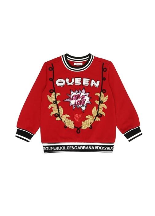 Kırmızı Patch Detaylı Şeritli Kız ÇocukSweatshirt