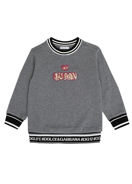 Gri Melanj Yazı Patchli Kız Çocuk Sweatshirt