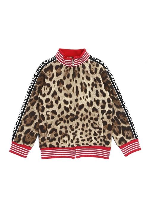 Kahverengi Leopar Desenli Kız Çocuk Sweatshirt