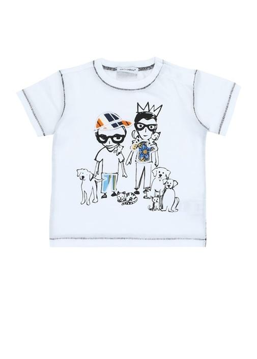 Beyaz Baskılı Dikiş Detaylı Erkek BebekT-shirt