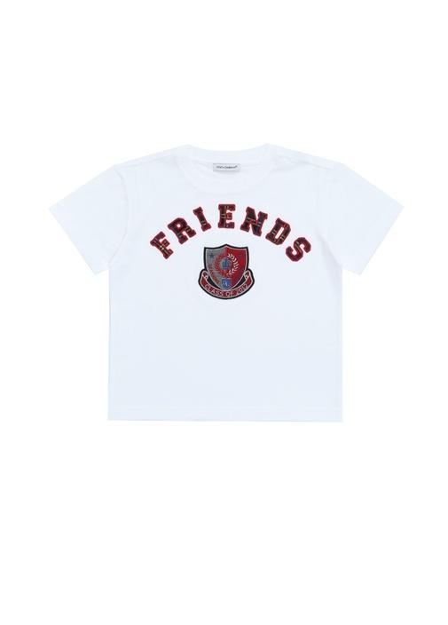 Beyaz Patchli Erkek Çocuk T-shirt