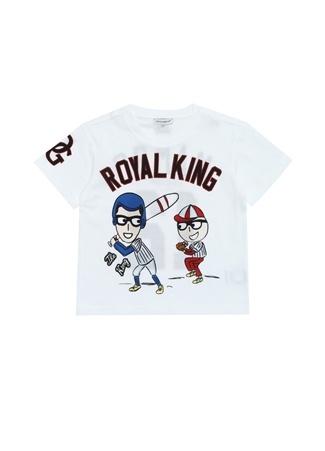 5 Yaş unisex Beyaz Dolce&Gabbana Erkek Çocuk Baskılı Patchli T-shirt EU
