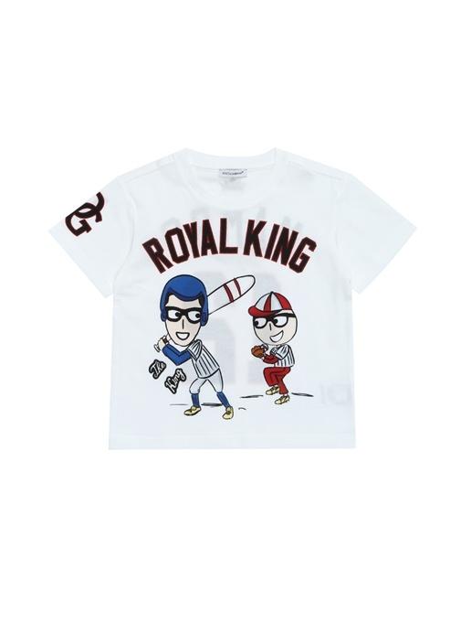 Beyaz Baskılı Patchli Erkek Çocuk T-shirt