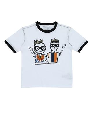 5 Yaş unisex Beyaz Dolce&Gabbana Erkek Çocuk Bisiklet Yaka Baskılı ÇocukT-shirt EU