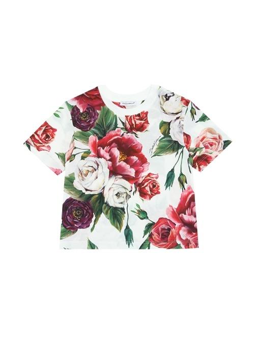 Beyaz Pembe Çiçek Baskılı Kız Çocuk T-shirt