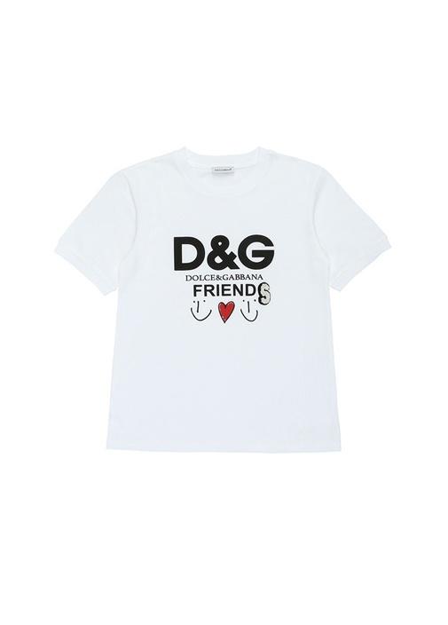Beyaz Logo Baskılı Kız Çocuk T-shirt