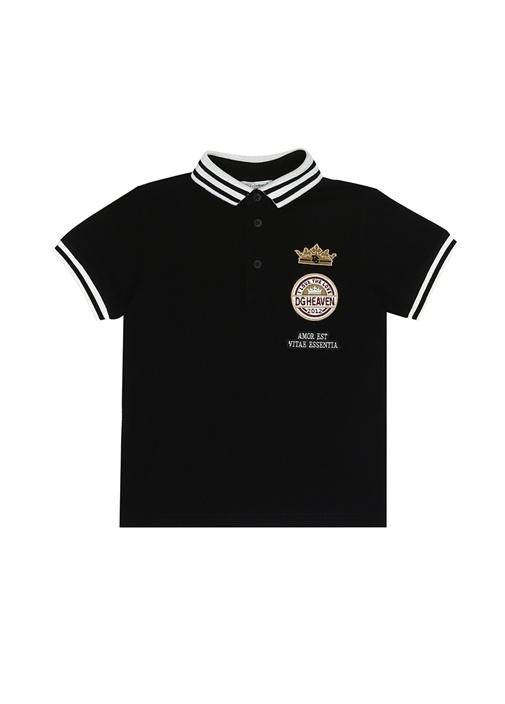 Siyah Polo Yaka Logo Patchli Erkek Çocuk T-shirt