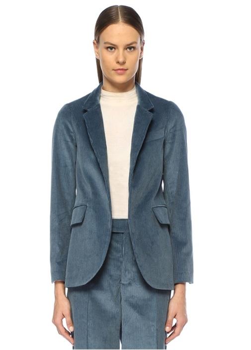 Very Mavi Dik Yaka Kadife Ceket