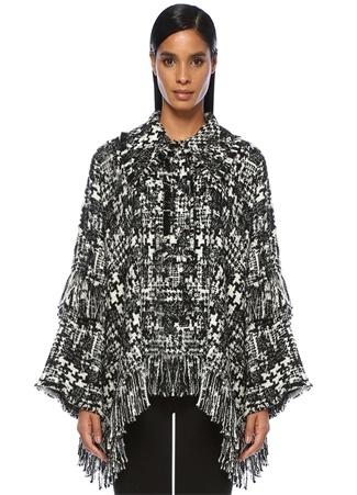 Dolce&Gabbana Kadın Siyah Beyaz Yıldız Düğmeli Püsküllü Tweed Pelerin 44 IT