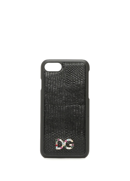 Siyah Taşlı Logolu Deri iPhone 7 8 Telefon Kılıfı