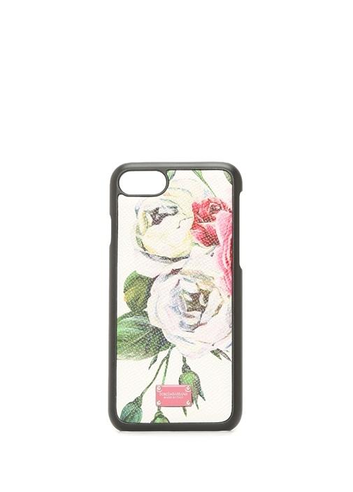 Beyaz Çiçek Desenli Deri iPhone 7 Telefon Kılıfı