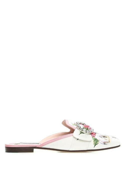 Roseto Beyaz Çiçek Baskılı Tokalı KadınTerlik