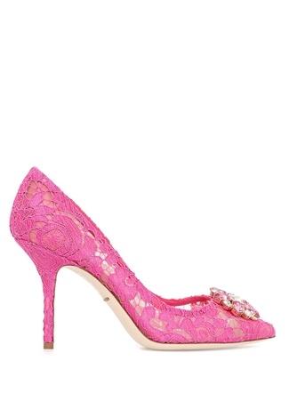 Dolce&Gabbana Kadın Rainbow Lace Şeftali Taş Toka Detaylı Stiletto Pembe 39.5 EU