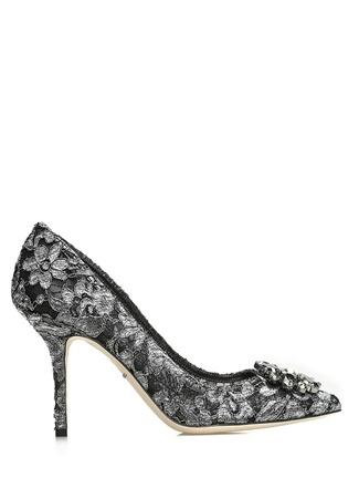Dolce&Gabbana Kadın Rainbow Lace Silver Taşlı Tokalı Stiletto Gri 37 EU