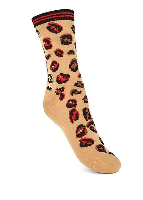 Kamel Desenli Şeritli Kadın Çorap
