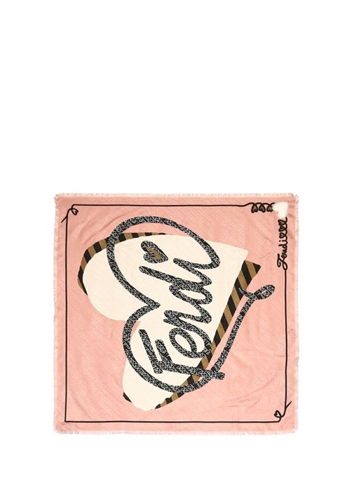 Pembe Logo Baskılı İpek 90x90 cm Eşarp