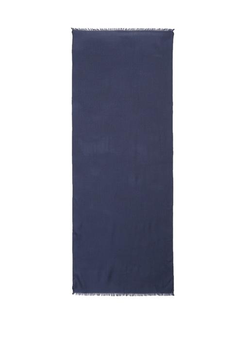 Lacivert Logolu Kadın Yün Şal