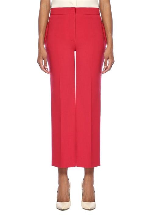 Kırmızı Yüksek Bel Crop Pantolon