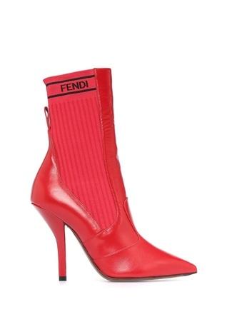 Fendi Kadın Kırmızı Logo Jakarlı Çorap Formlu KadınDeri Bot 39 EU