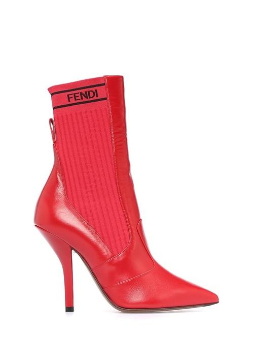 Kırmızı Logo Jakarlı Çorap Formlu KadınDeri Bot