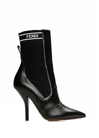 Fendi Kadın Siyah Logolu Çorap Formlu Deri Bot 39.5 EU
