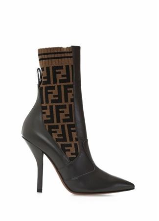 Fendi Kadın Siyah Logo Jakarlı Çorap Formlu Deri Bot Kahverengi 37 EU