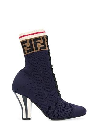 Fendi Kadın Lacivert Logo Jakarlı Çorap Formlu Bot 37.5 EU
