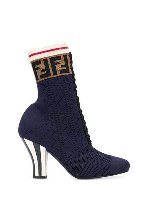 Lacivert Logo Jakarlı Çorap Formlu Kadın Bot