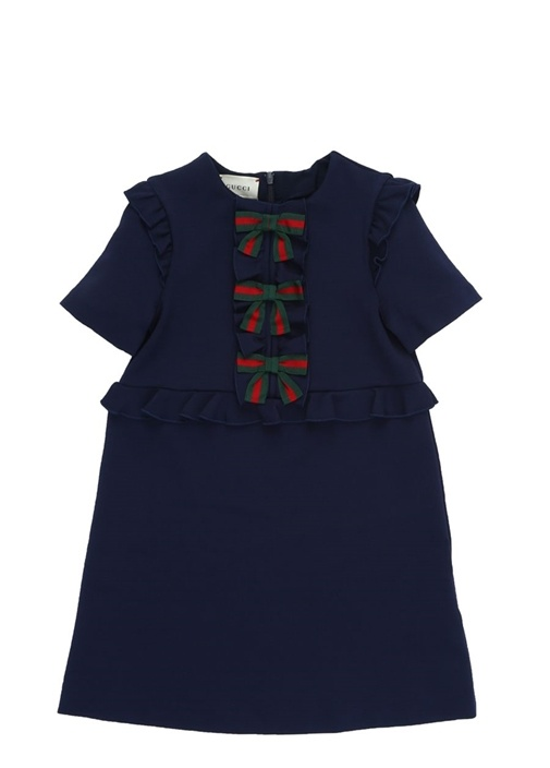 Lacivert Logo Fiyonklu Kız Çocuk Elbise