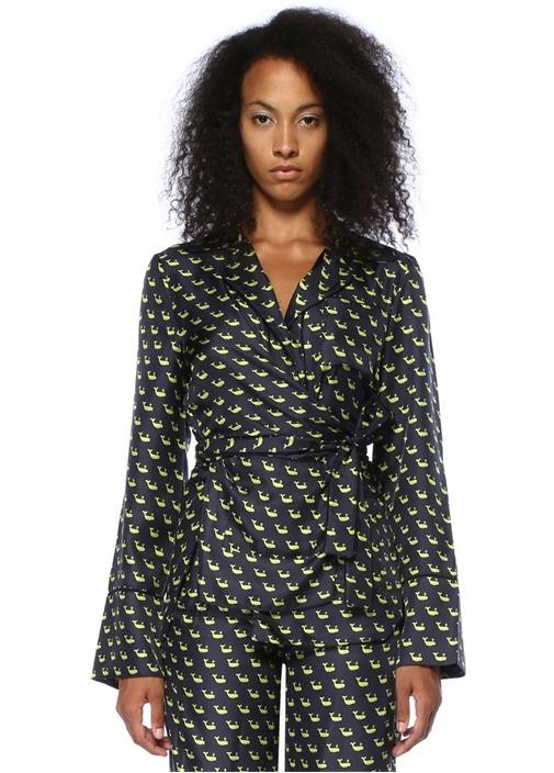 Lacivert Balina Baskılı Kuşaklı İpek Pijama Gömlek