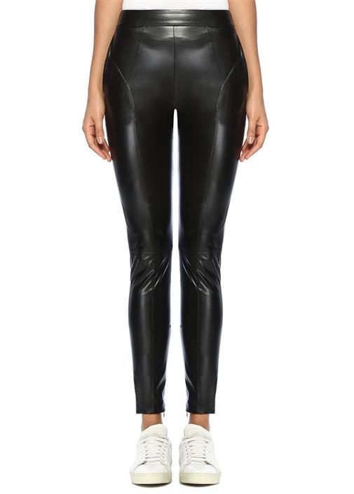 Siyah Paçası Fermuarlı Suni Deri Pantolon