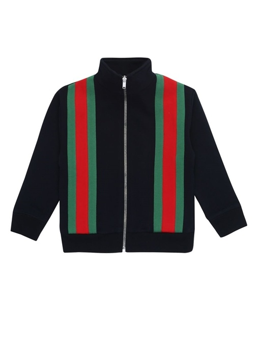 Lacivert Logo Şeritli Erkek Çocuk Sweatshirt