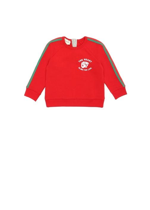 Kırmızı Reglan Kol Şeritli Erkek Bebek Sweatshirt