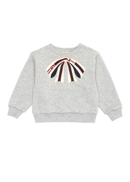 Gri Melanj Fiyonk Patchli Kız Çocuk Sweatshirt