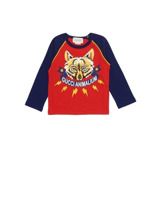 Kırmızı Kurt Baskılı Logolu Erkek BebekT-shirt