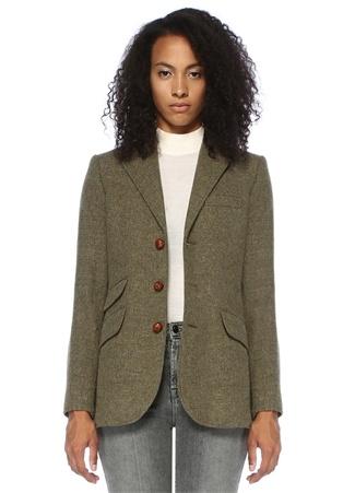 Kadın Yeşil Kelebek Yaka Dokulu Yün Blazer Ceket 8 US