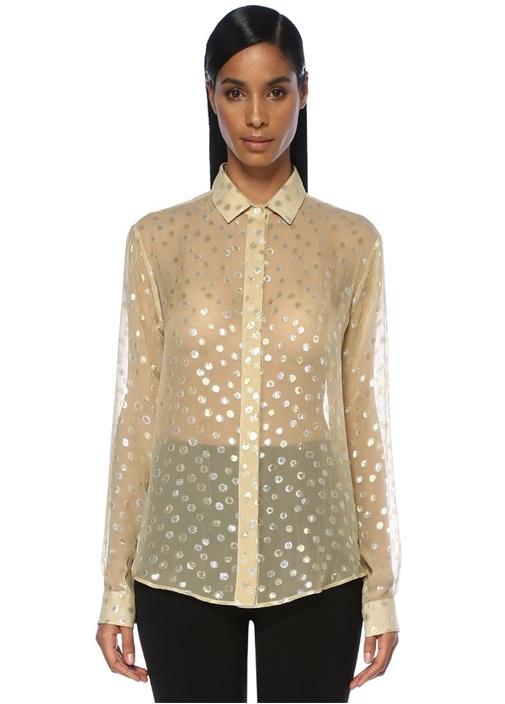Gold Silver Puanlı İpek Gömlek
