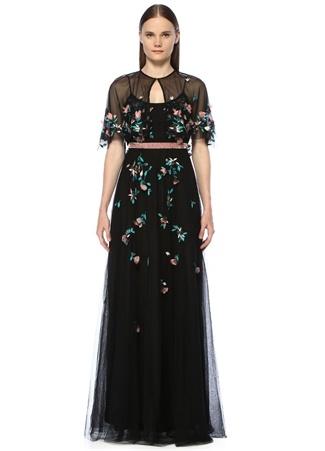 33c6d095647fe 2 female Siyah Marchesa Notte Kadın Askılı Çiçek Nakışlı Boncuklu Maksi  Elbise US