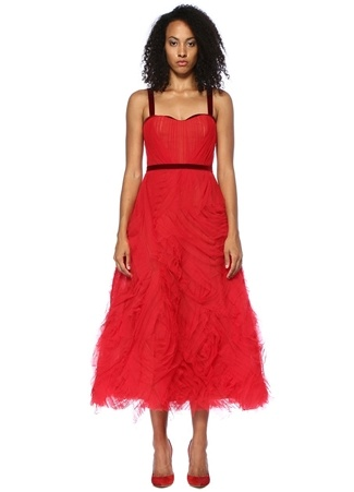 Marchesa Notte Kadın Kırmızı Drapeli Midi Tül Kokteyl Elbise 4 US