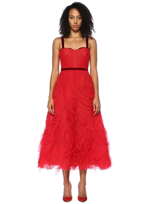 Kırmızı Drapeli Midi Tül Kokteyl Elbise