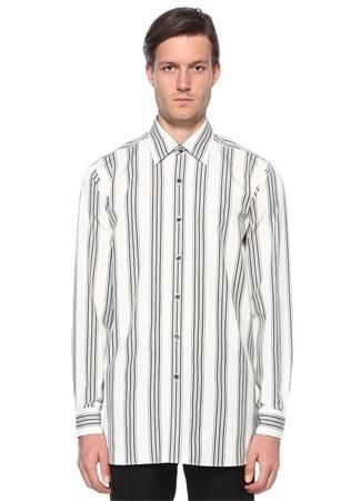 Erkek Beyaz Siyah Çizgili İngiliz Yaka Gömlek Bej 50 IT