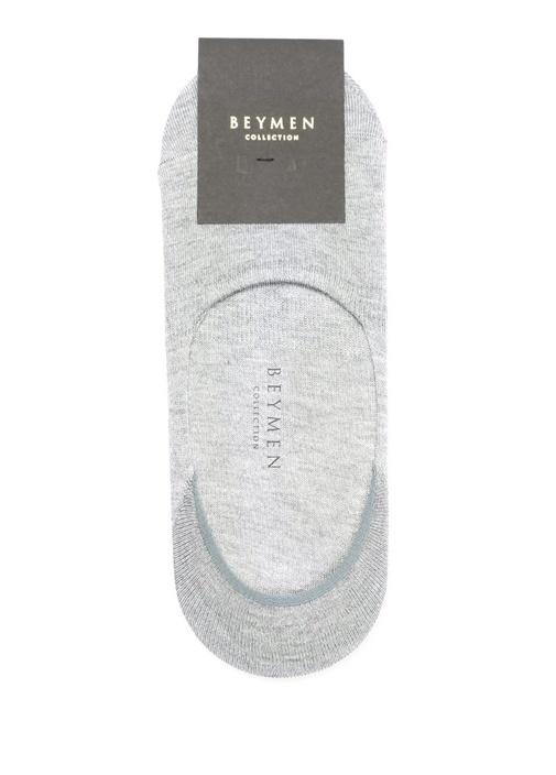 Gri Logo Jakarlı Çorap